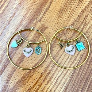 Pre-loved Juicy Couture Gold hoops Heart Dog charm